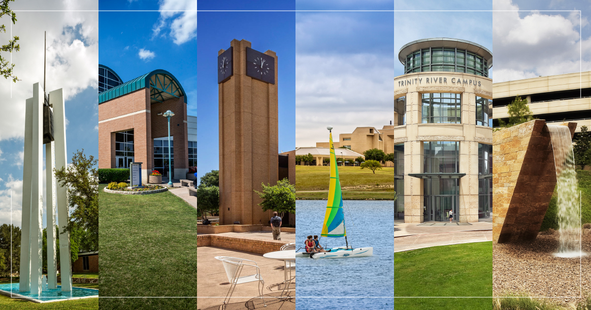 The six TCC campuses featured in a photo collage.